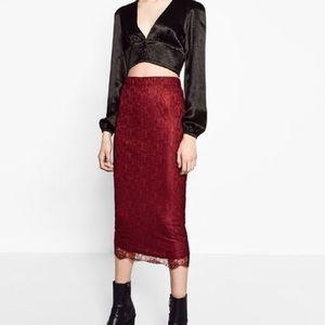 Zara burgundy skirt size small